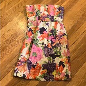 J.Crew floral strapless dress